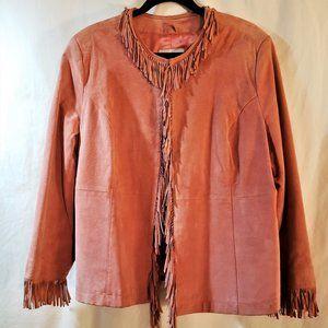 Pamela McCoy Ladies Pink Suede Fringe Jacket Sz 1X